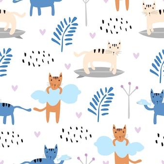 Patrones sin fisuras con gatos y hojas