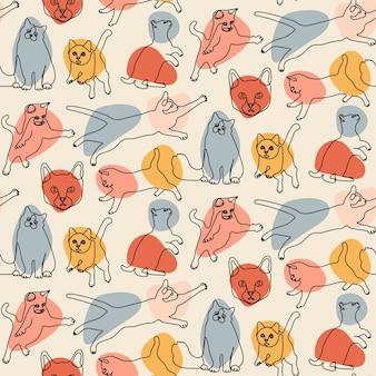 Patrones sin fisuras con gatos de línea
