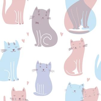 Patrones sin fisuras con los gatos