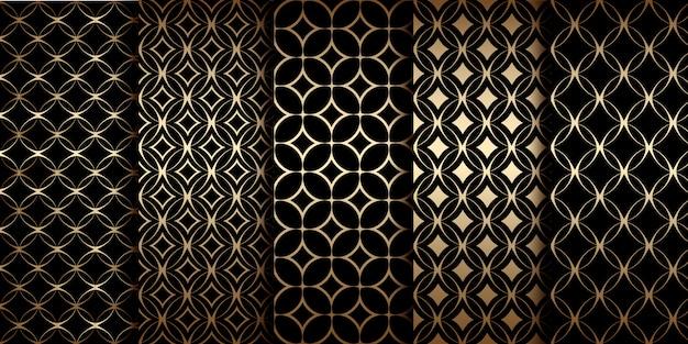 Patrones sin fisuras geométricos dorados con formas lineales redondas, motivo art deco