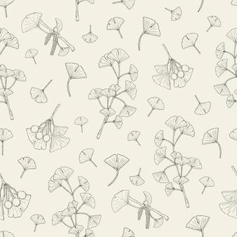 Patrones sin fisuras con ginkgo biloba. fondo de plantas médicas, botánicas. boceto dibujado a mano textura.