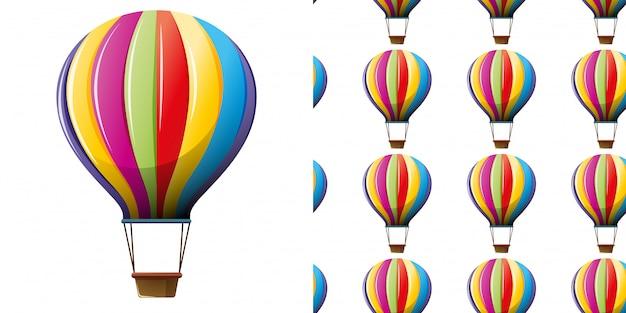 Patrones sin fisuras con globos de aire caliente