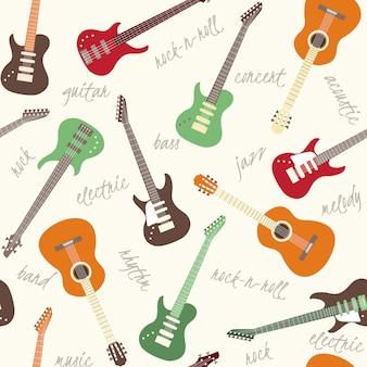 Patrones sin fisuras con guitarras.