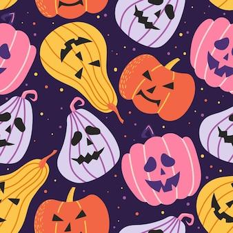 Patrones sin fisuras de halloween con calabaza