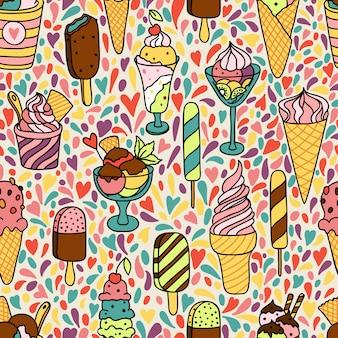 Patrones sin fisuras con helado