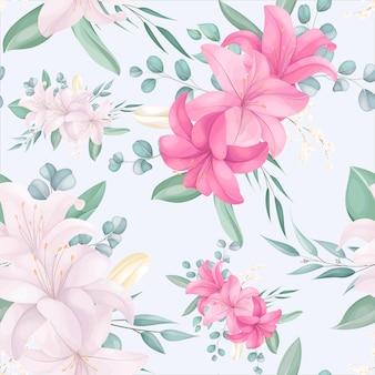 Patrones sin fisuras con hermosas flores vector gratuito