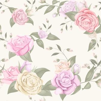 Patrones sin fisuras con hermoso ramo de rosas