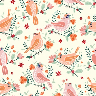 Patrones sin fisuras con hermosos pájaros y flores