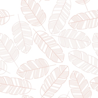 Patrones sin fisuras con hojas de color rosa sobre fondo blanco