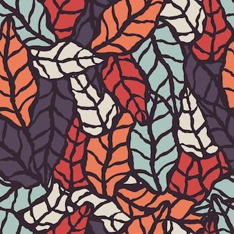 Patrones sin fisuras con hojas naturales dibujadas a mano