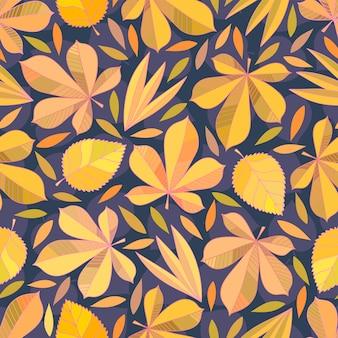 Patrones sin fisuras con hojas de otoño.