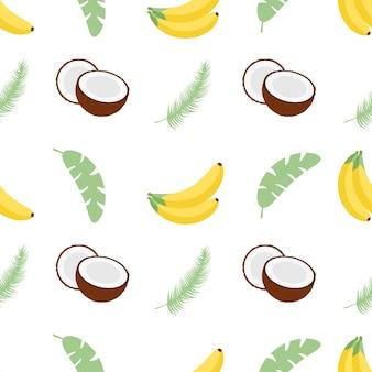 Patrones sin fisuras con hojas de plátano, plátanos y cocos