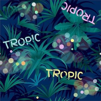 Patrones sin fisuras de hojas tropicales en la noche