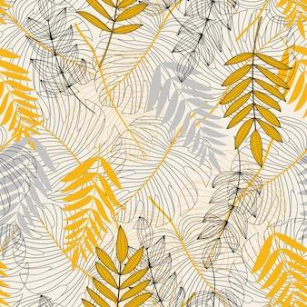 Patrones sin fisuras con hojas tropicales y plantas en blanco