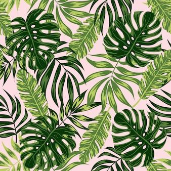 Patrones sin fisuras con hojas tropicales