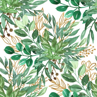 Patrones sin fisuras de hojas verdes y oro