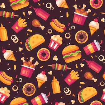 Patrones sin fisuras de los iconos de comida rápida