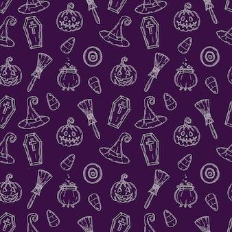 Patrones sin fisuras con iconos de halloween