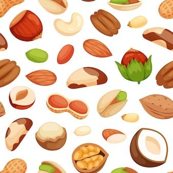 Patrones sin fisuras con ilustraciones de nueces.