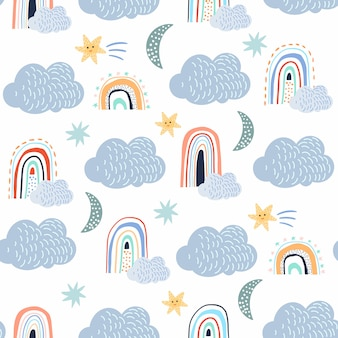 Patrones sin fisuras infantiles con fondo de nubes, blanco