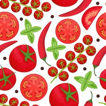 Patrones sin fisuras con ingredientes para salsa de tomate. salsa de tomate, tomates cherry, chile, ajo y pimienta negra. endecha plana.