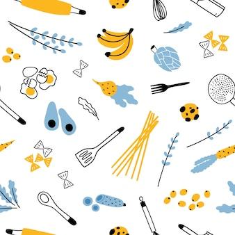 Patrones sin fisuras con ingredientes y utensilios de cocina