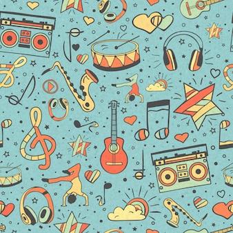 Patrones sin fisuras de instrumentos musicales, notas y auriculares, reproductor.
