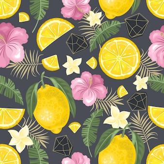 Patrones sin fisuras con limón fresco