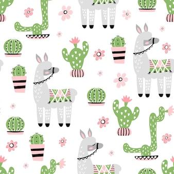 Patrones sin fisuras con linda llama y cactus