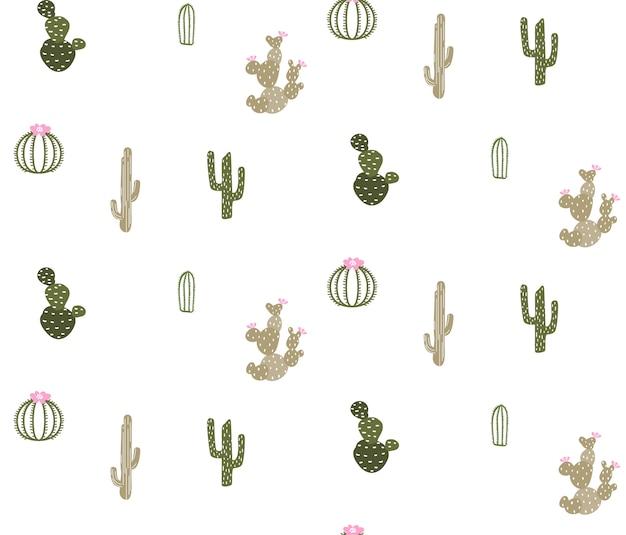 Patrones sin fisuras con lindo cactus