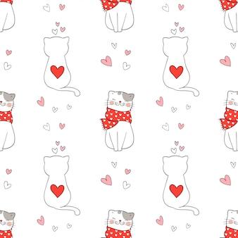 Patrones sin fisuras de lindo gato con corazón pequeño