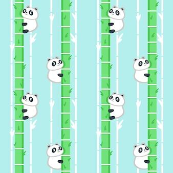 Patrones sin fisuras con lindo panda pequeño