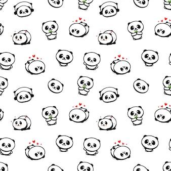 Patrones sin fisuras con lindo panda