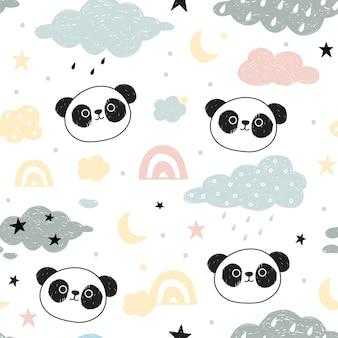 Patrones sin fisuras con lindo panda.