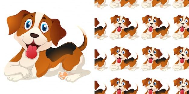 Patrones sin fisuras con lindo perro