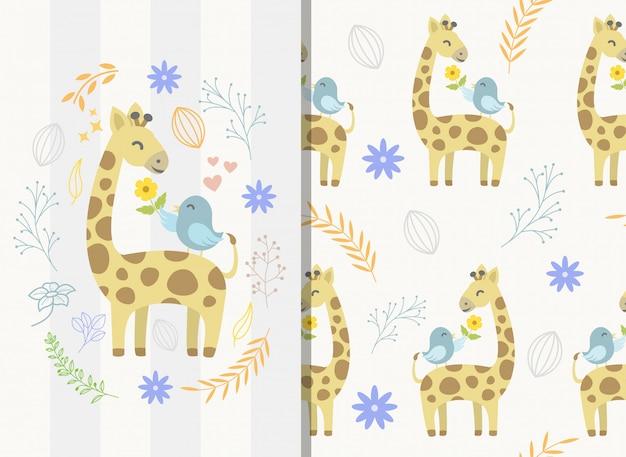 Patrones sin fisuras con lindo personaje jirafa y pájaro