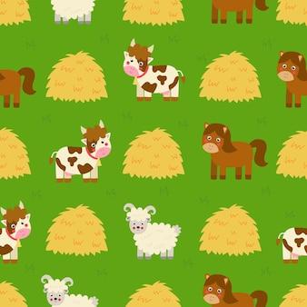 Patrones sin fisuras con lindos animales de granja