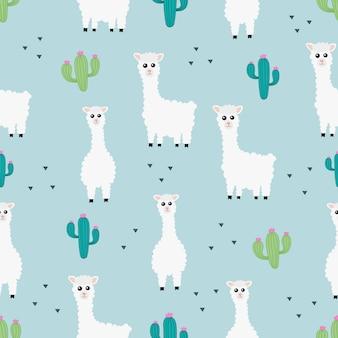 Patrones sin fisuras lindos animales llama o alpaca con cactus.