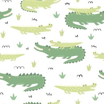 Patrones sin fisuras con lindos cocodrilos