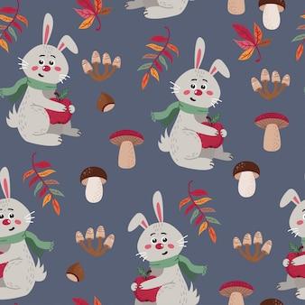 Patrones sin fisuras con lindos conejos