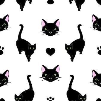 Patrones sin fisuras con lindos gatos negros.