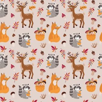 Patrones sin fisuras con lindos mapaches, zorros, ciervos