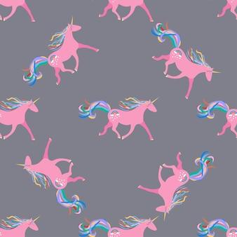 Patrones sin fisuras con lindos unicornios
