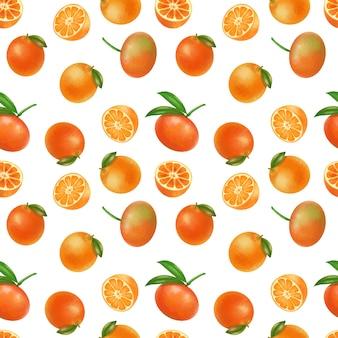 Patrones sin fisuras con mandarinas dibujadas a mano