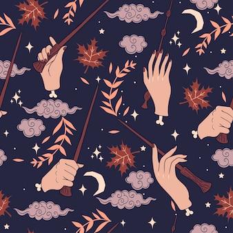 Patrones sin fisuras con manos y varitas mágicas