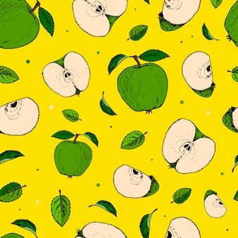 Patrones sin fisuras con manzanas dibujadas a mano