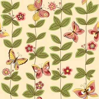 Patrones sin fisuras con mariposas volando alrededor de las flores