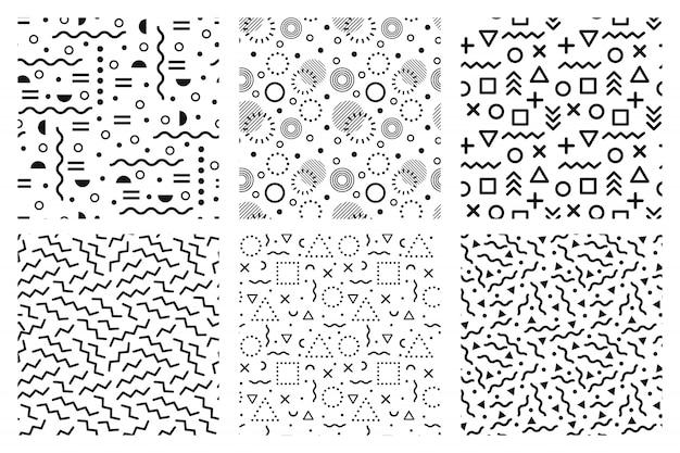 Patrones sin fisuras de memphis, textura de fondo funky 90s, plantilla de moda 80s y conjunto de patrones abstractos hipster