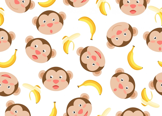Patrones sin fisuras de monos cara bonita