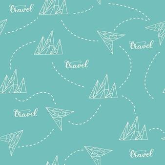 Patrones sin fisuras con montañas y letras viajes. ilustración vectorial